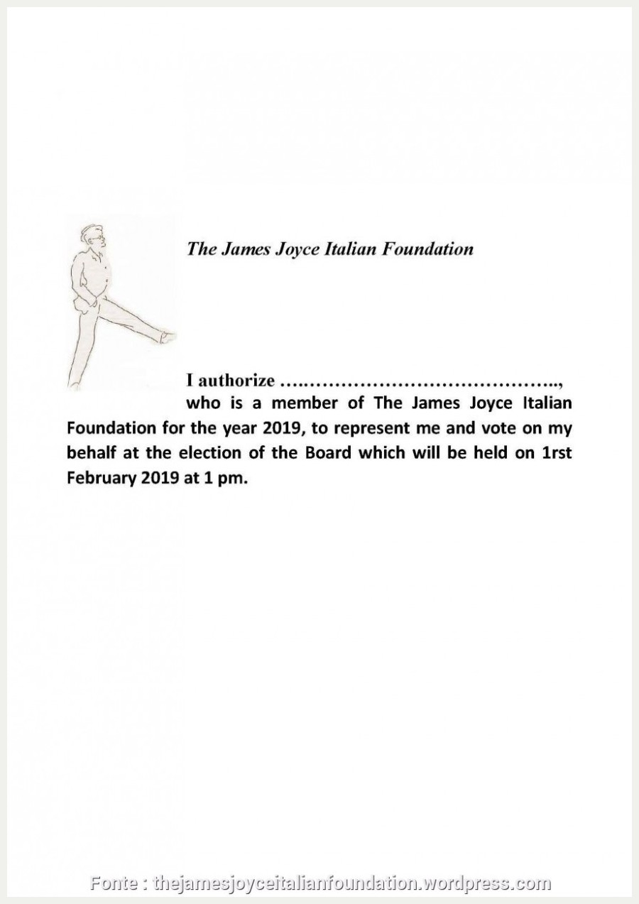The James Joyce Italian Foundation, Dipartimento di di Lingue, Lettera di presentazione candidatura commessa