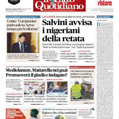 2018-12-05 Il Fatto Quotidiano-compressed Pages, 24, Text, lettera aperta fatto quotidiano elio e le storie tese