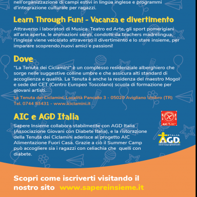 KIDS' INTERNATIONAL ENGLISH SUMMER CAMP 2019, News, AGDITALIA, Lettera in inglese sulle vacanze estive