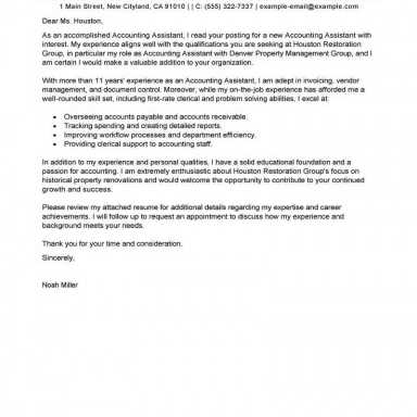 Best Accounting Assistant Cover Letter Examples, LiveCareer, lettera presentazione cv email