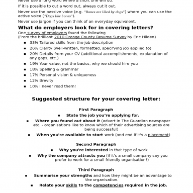 How to write a successful covering letter, Docsity, lettera presentazione inglese cv