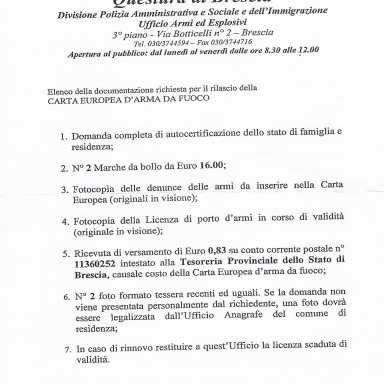 Documenti, Confraternita, Leone, questura di brescia lettera di invito